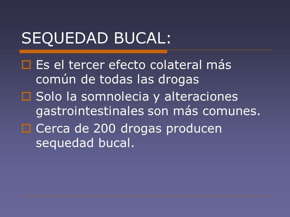 SEQUEDAD BUCAL: Es el tercer efecto colateral más común de todas las drogas Solo la somnolecia y alteraciones gastrointestinales son más comunes. Cerc