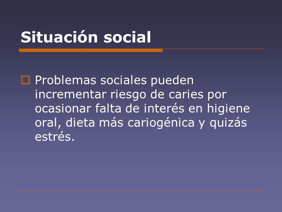 Situación social Problemas sociales pueden incrementar riesgo de caries por ocasionar falta de interés en higiene oral, dieta más cariogénica y quizás