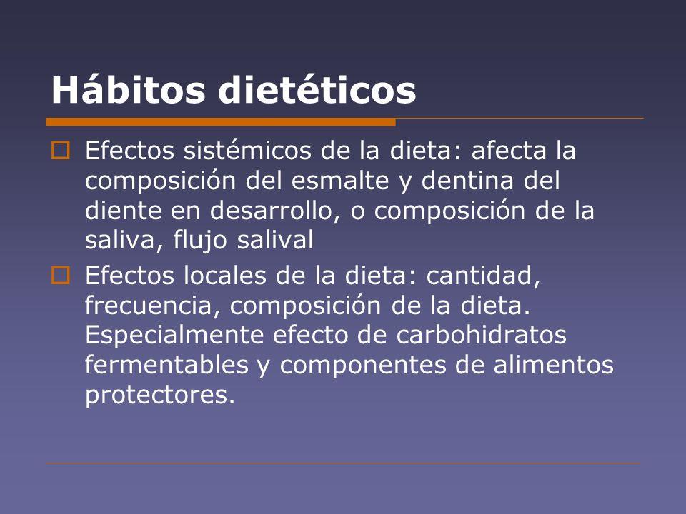 Hábitos dietéticos Efectos sistémicos de la dieta: afecta la composición del esmalte y dentina del diente en desarrollo, o composición de la saliva, f