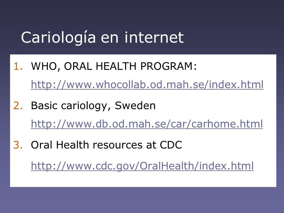 Cariología en internet 1.WHO, ORAL HEALTH PROGRAM: http://www.whocollab.od.mah.se/index.html http://www.whocollab.od.mah.se/index.html 2.Basic cariolo