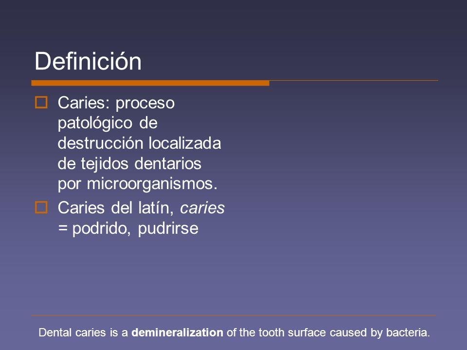 Definición Caries: proceso patológico de destrucción localizada de tejidos dentarios por microorganismos. Caries del latín, caries = podrido, pudrirse