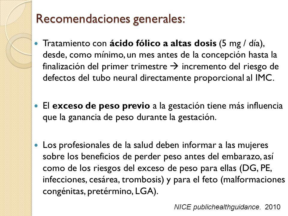 Recomendaciones generales: Tratamiento con ácido fólico a altas dosis (5 mg / día), desde, como mínimo, un mes antes de la concepción hasta la finaliz
