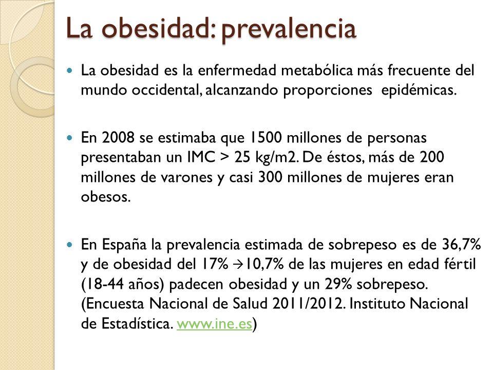 La obesidad: prevalencia La obesidad es la enfermedad metabólica más frecuente del mundo occidental, alcanzando proporciones epidémicas. En 2008 se es