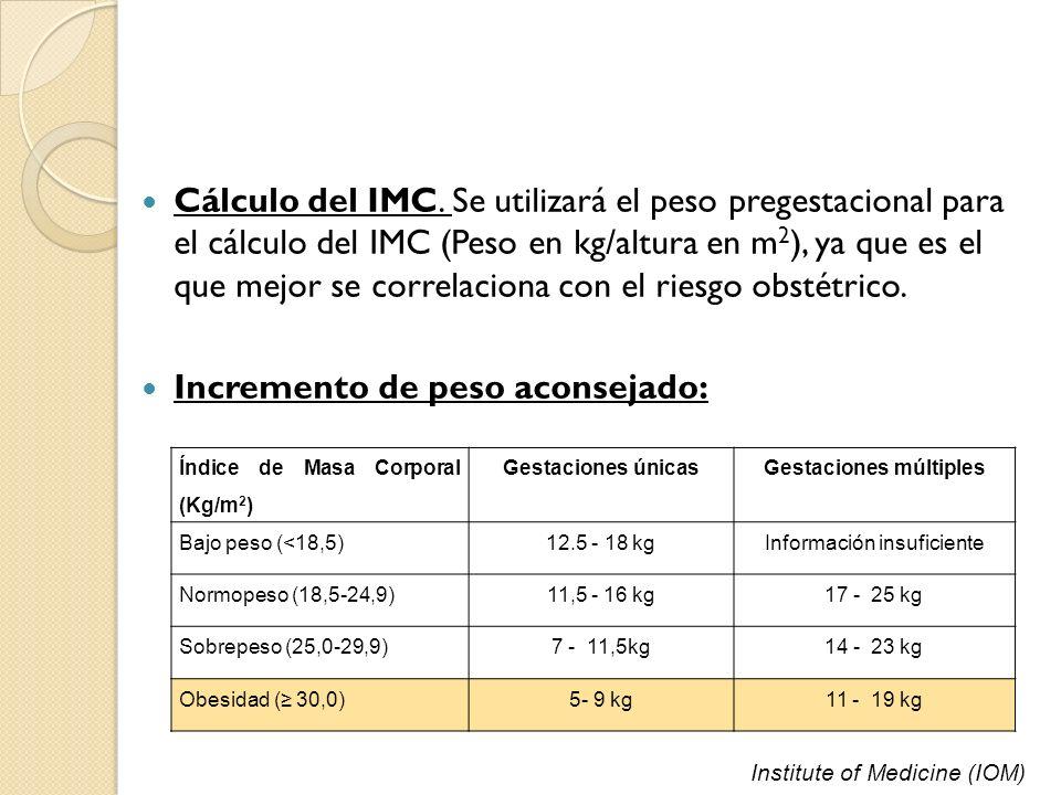 Cálculo del IMC. Se utilizará el peso pregestacional para el cálculo del IMC (Peso en kg/altura en m 2 ), ya que es el que mejor se correlaciona con e