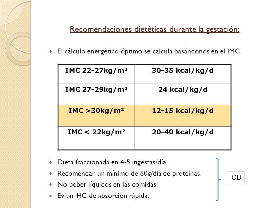 Recomendaciones dietéticas durante la gestación: El cálculo energético óptimo se calcula basándonos en el IMC. Dieta fraccionada en 4-5 ingestas/día.