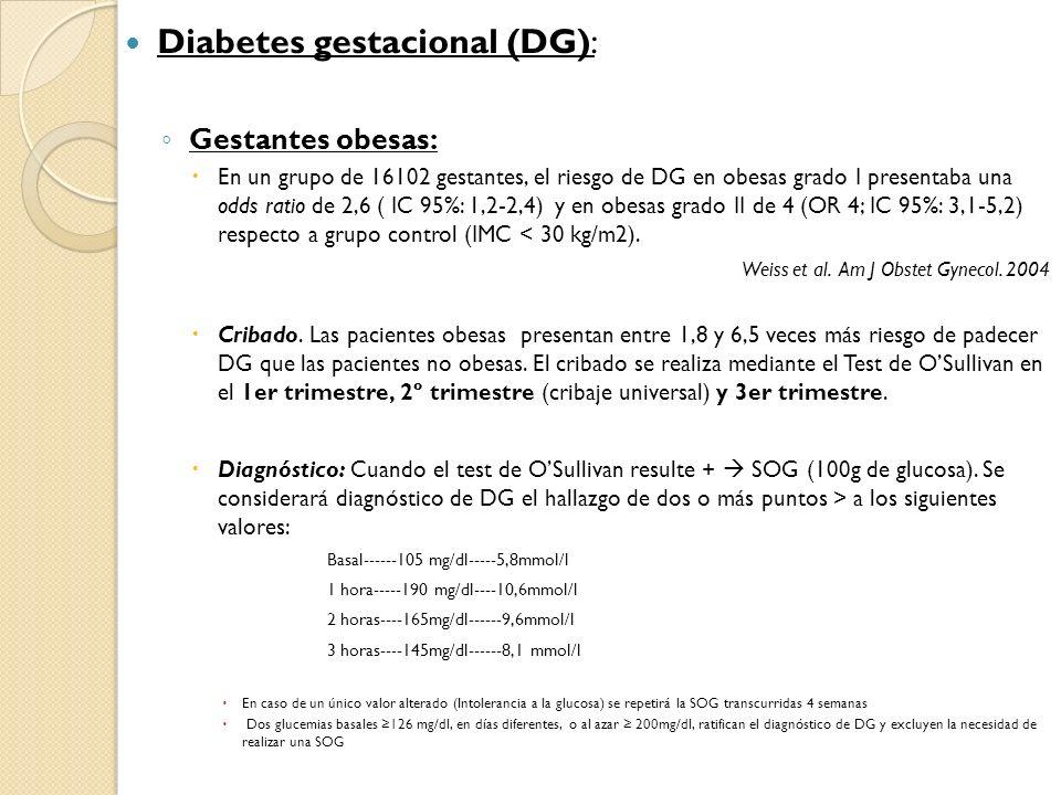 Diabetes gestacional (DG): Gestantes obesas: En un grupo de 16102 gestantes, el riesgo de DG en obesas grado I presentaba una odds ratio de 2,6 ( IC 9