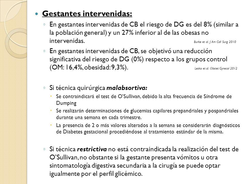 Gestantes intervenidas: En gestantes intervenidas de CB el riesgo de DG es del 8% (similar a la población general) y un 27% inferior al de las obesas