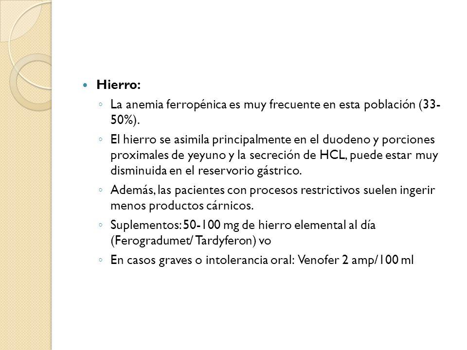 Hierro: La anemia ferropénica es muy frecuente en esta población (33- 50%). El hierro se asimila principalmente en el duodeno y porciones proximales d