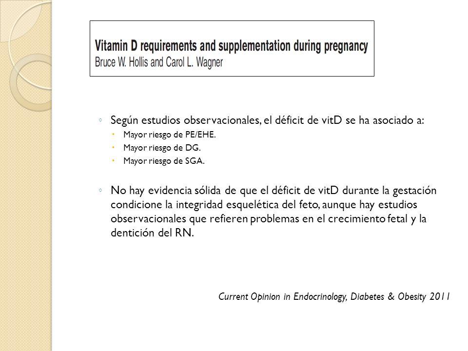 Según estudios observacionales, el déficit de vitD se ha asociado a: Mayor riesgo de PE/EHE. Mayor riesgo de DG. Mayor riesgo de SGA. No hay evidencia