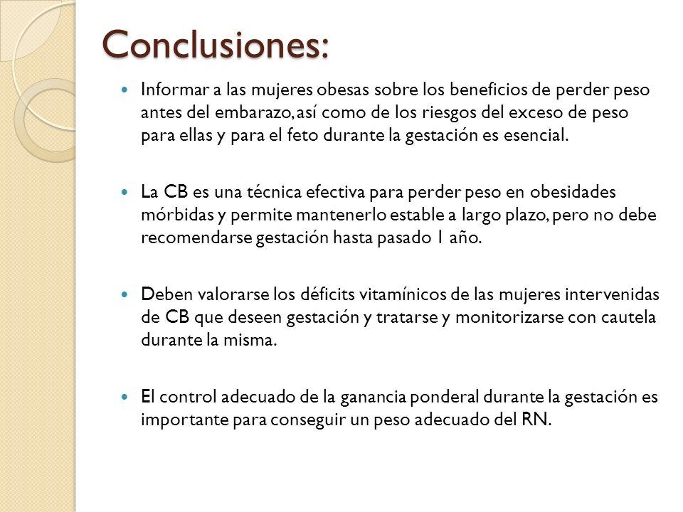 Conclusiones: Informar a las mujeres obesas sobre los beneficios de perder peso antes del embarazo, así como de los riesgos del exceso de peso para el
