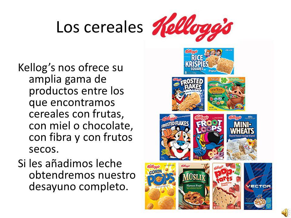 Los cereales Kellogs nos ofrece su amplia gama de productos entre los que encontramos cereales con frutas, con miel o chocolate, con fibra y con frutos secos.