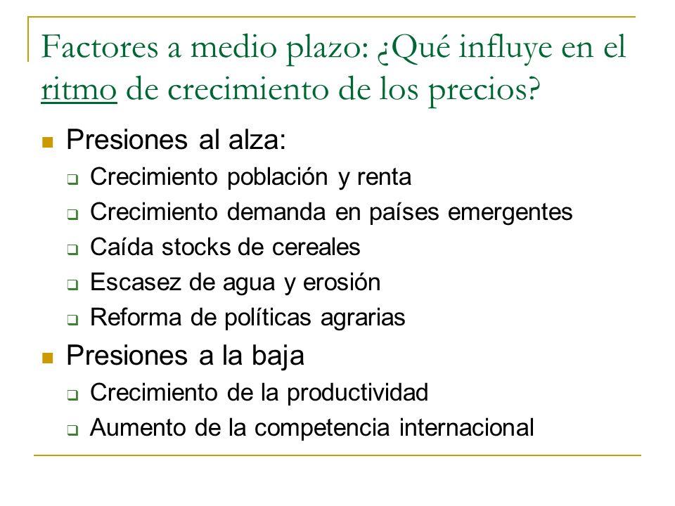 Factores a medio plazo: ¿Qué influye en el nivel de los precios internacionales.