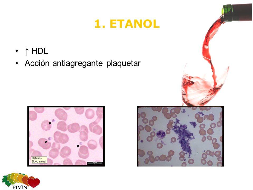 1. ETANOL HDL Acción antiagregante plaquetar