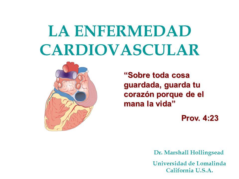 LA ENFERMEDAD CARDIOVASCULAR Dr. Marshall Hollingsead Universidad de Lomalinda California U.S.A. Sobre toda cosa guardada, guarda tu corazón porque de