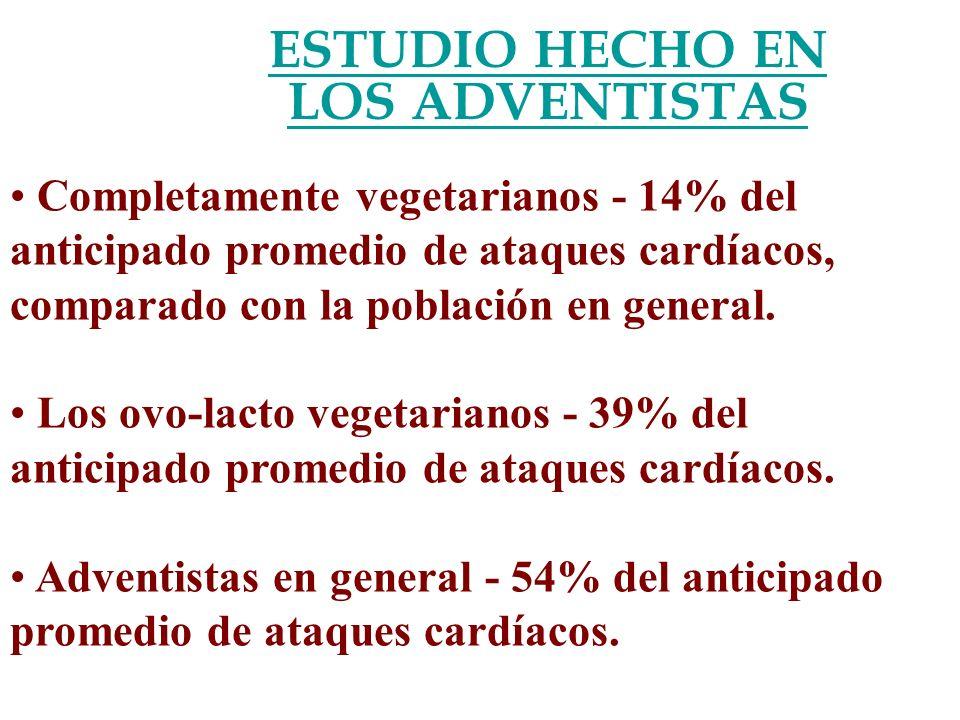 ESTUDIO HECHO EN LOS ADVENTISTAS Completamente vegetarianos - 14% del anticipado promedio de ataques cardíacos, comparado con la población en general.