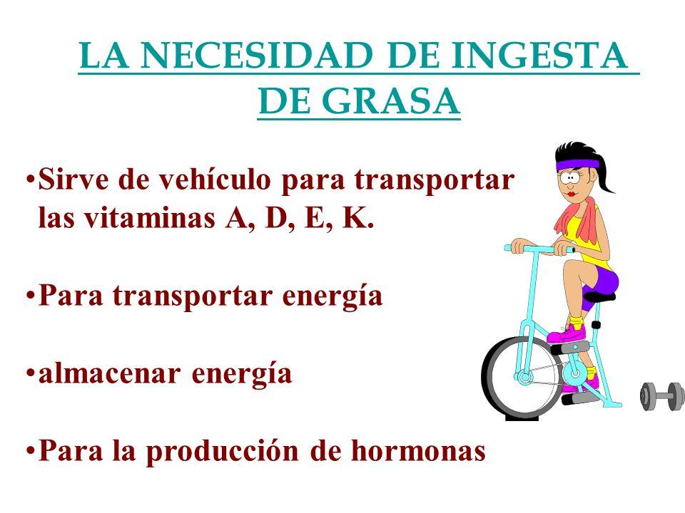 LA NECESIDAD DE INGESTA DE GRASA Sirve de vehículo para transportar las vitaminas A, D, E, K. Para transportar energía almacenar energía Para la produ
