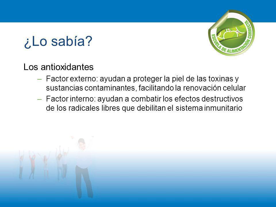 ¿Lo sabía? Los antioxidantes –Factor externo: ayudan a proteger la piel de las toxinas y sustancias contaminantes, facilitando la renovación celular –