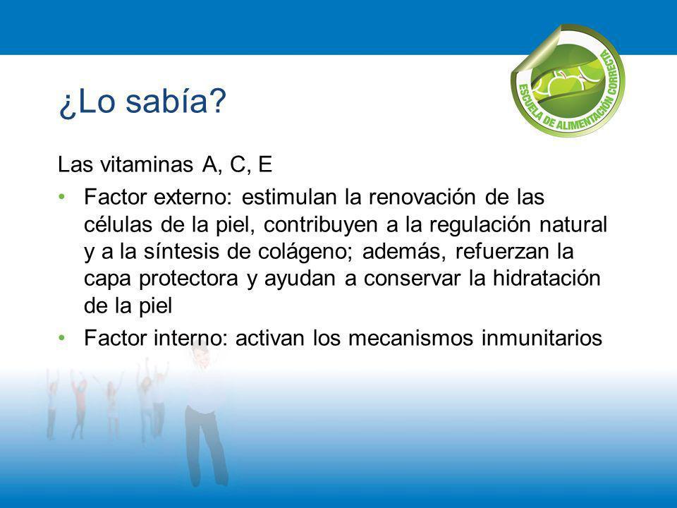 ¿Lo sabía? Las vitaminas A, C, E Factor externo: estimulan la renovación de las células de la piel, contribuyen a la regulación natural y a la síntesi