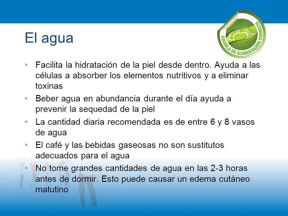 El agua Facilita la hidratación de la piel desde dentro. Ayuda a las células a absorber los elementos nutritivos y a eliminar toxinas Beber agua en ab