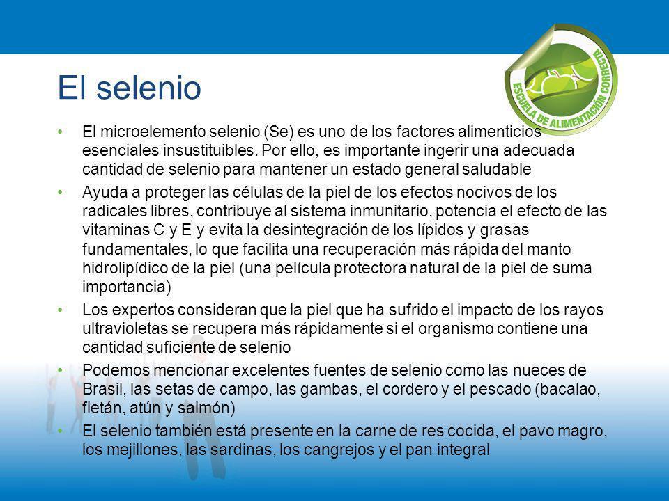 El selenio El microelemento selenio (Se) es uno de los factores alimenticios esenciales insustituibles. Por ello, es importante ingerir una adecuada c