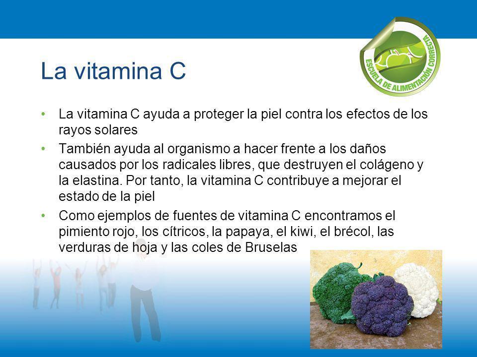 La vitamina C La vitamina C ayuda a proteger la piel contra los efectos de los rayos solares También ayuda al organismo a hacer frente a los daños cau