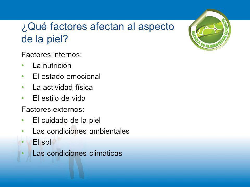 ¿Qué factores afectan al aspecto de la piel? Factores internos: La nutrición El estado emocional La actividad física El estilo de vida Factores extern