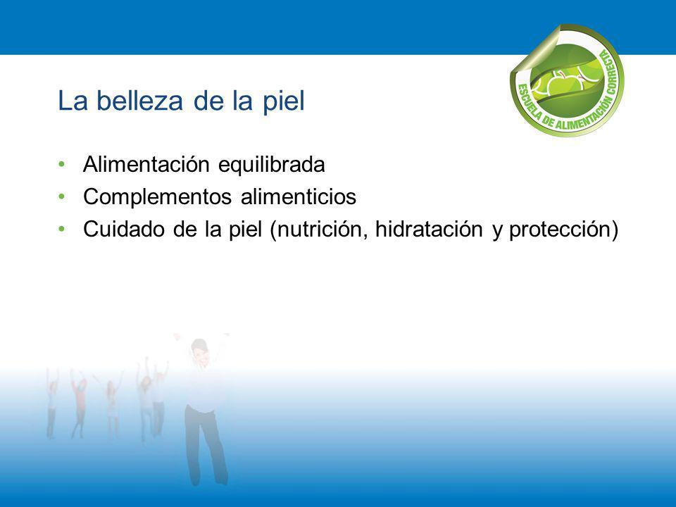 La belleza de la piel Alimentación equilibrada Complementos alimenticios Cuidado de la piel (nutrición, hidratación y protección)