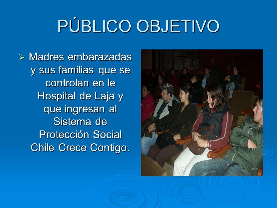 PÚBLICO OBJETIVO Madres embarazadas y sus familias que se controlan en le Hospital de Laja y que ingresan al Sistema de Protección Social Chile Crece