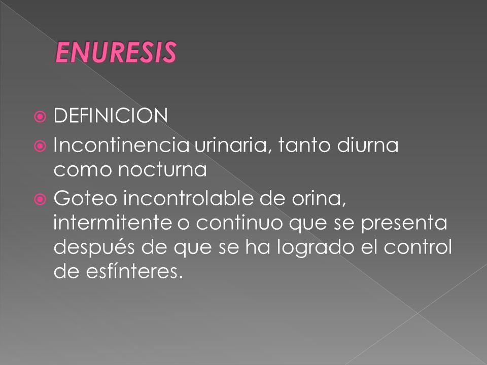 DEFINICION Incontinencia urinaria, tanto diurna como nocturna Goteo incontrolable de orina, intermitente o continuo que se presenta después de que se