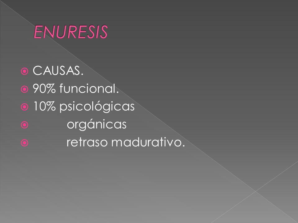 CAUSAS. 90% funcional. 10% psicológicas orgánicas retraso madurativo.