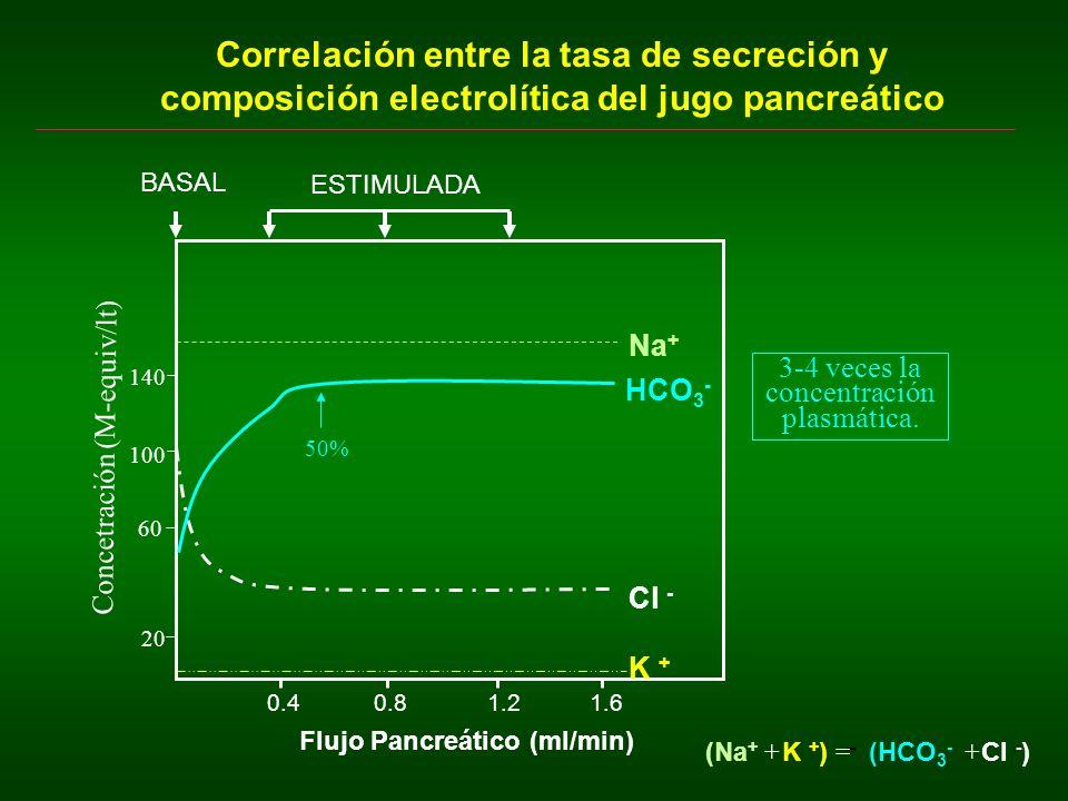 Correlación entre la tasa de secreción y composición electrolítica del jugo pancreático 20 60 100 140 Concetración (M-equiv/lt) Na + HCO 3 - Cl - K +