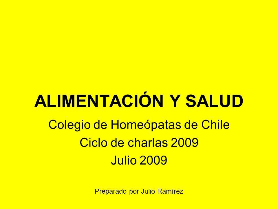 ALIMENTACIÓN Y SALUD Colegio de Homeópatas de Chile Ciclo de charlas 2009 Julio 2009 Preparado por Julio Ramírez