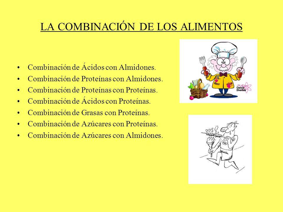 LA COMBINACIÓN DE LOS ALIMENTOS Combinación de Ácidos con Almidones. Combinación de Proteínas con Almidones. Combinación de Proteínas con Proteínas. C