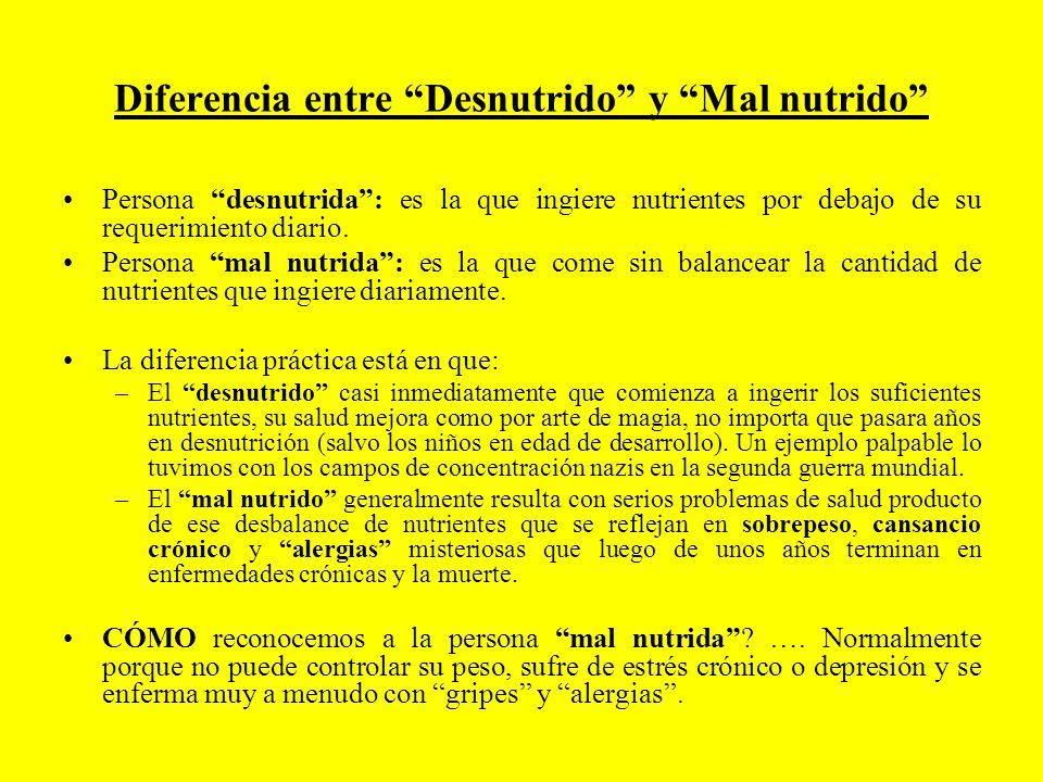 Diferencia entre Desnutrido y Mal nutrido Persona desnutrida: es la que ingiere nutrientes por debajo de su requerimiento diario. Persona mal nutrida: