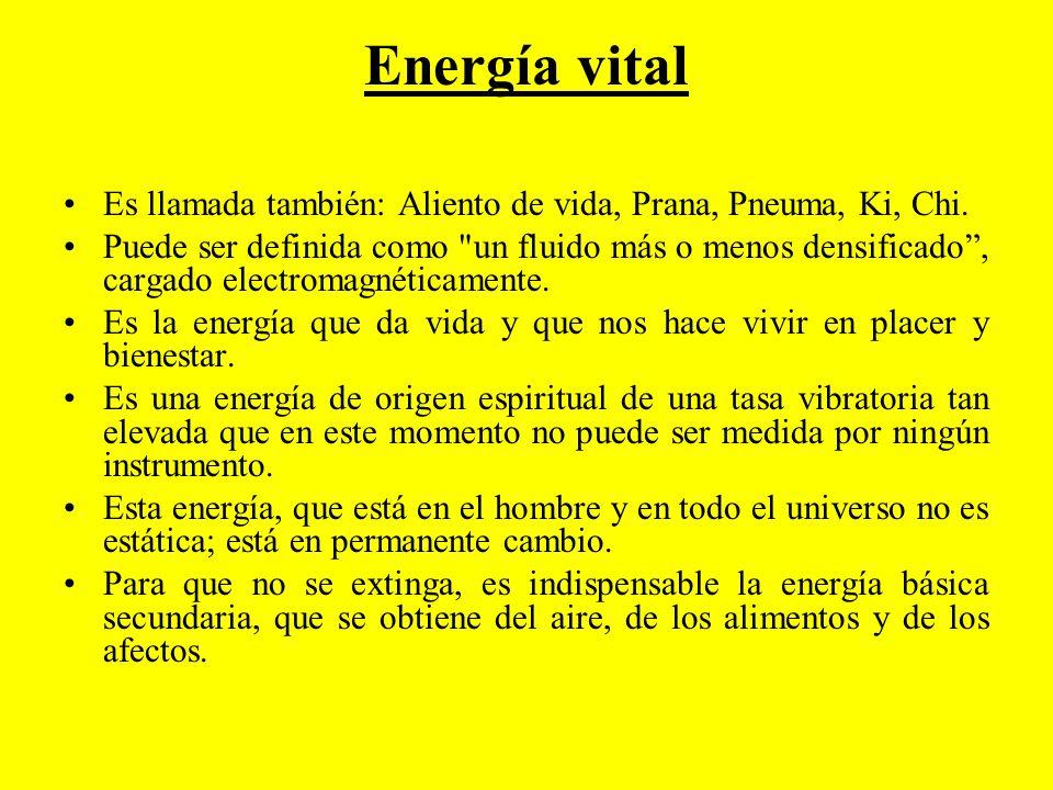 Energía vital Es llamada también: Aliento de vida, Prana, Pneuma, Ki, Chi. Puede ser definida como