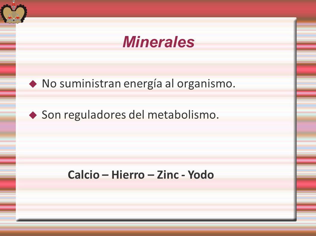 Minerales No suministran energía al organismo. Son reguladores del metabolismo. Calcio – Hierro – Zinc - Yodo