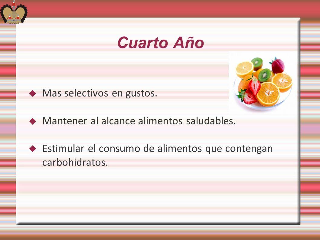 Cuarto Año Mas selectivos en gustos. Mantener al alcance alimentos saludables. Estimular el consumo de alimentos que contengan carbohidratos.