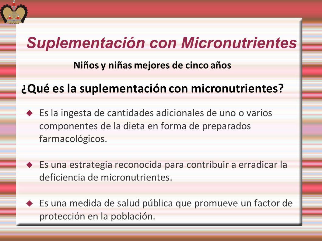 Suplementación con Micronutrientes Es la ingesta de cantidades adicionales de uno o varios componentes de la dieta en forma de preparados farmacológic