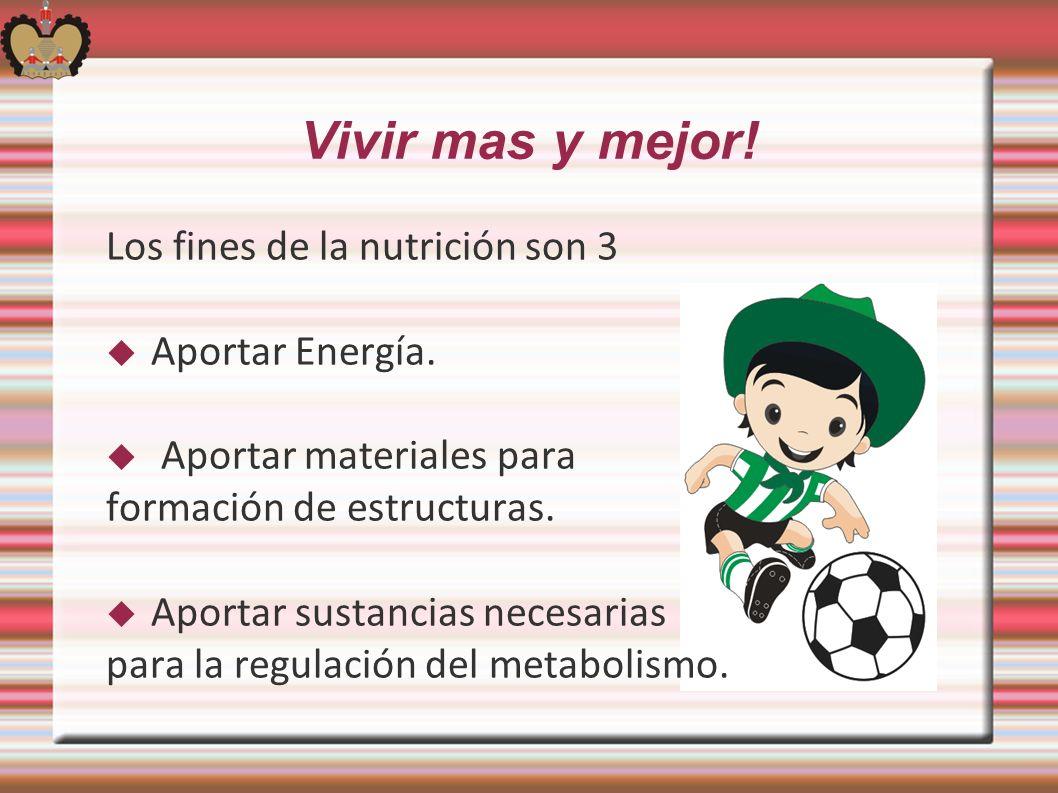 Vivir mas y mejor! Los fines de la nutrición son 3 Aportar Energía. Aportar materiales para formación de estructuras. Aportar sustancias necesarias pa