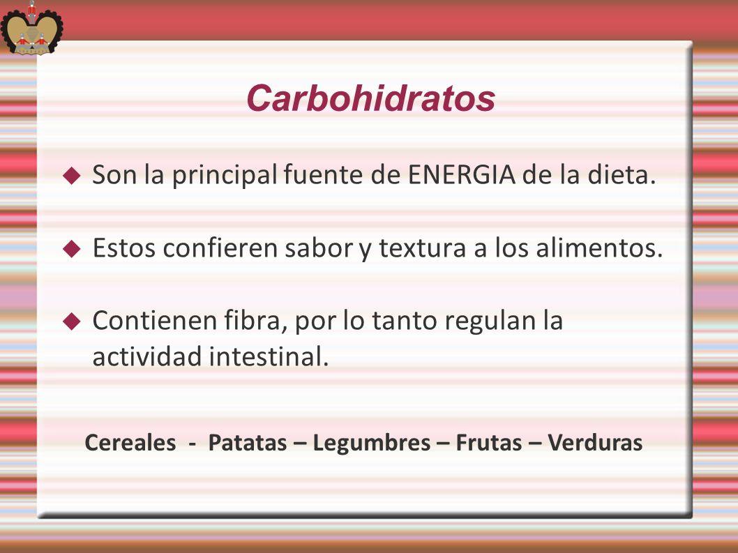 Carbohidratos Son la principal fuente de ENERGIA de la dieta. Estos confieren sabor y textura a los alimentos. Contienen fibra, por lo tanto regulan l