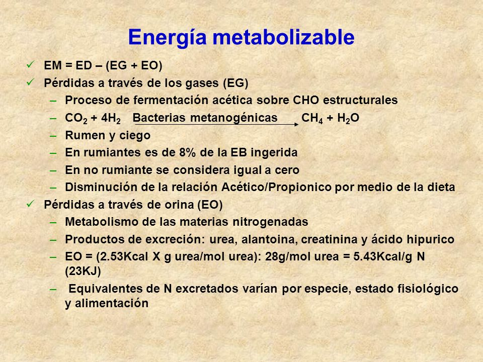 Energía metabolizable EM = ED – (EG + EO) Pérdidas a través de los gases (EG) –Proceso de fermentación acética sobre CHO estructurales –CO 2 + 4H 2 Ba