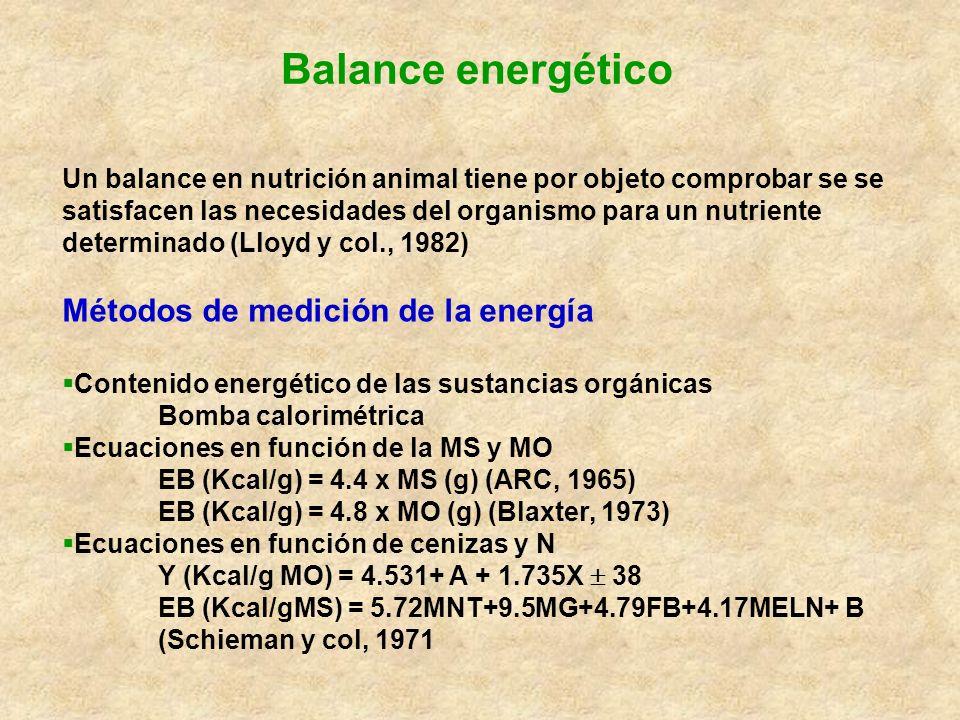 Balance energético Un balance en nutrición animal tiene por objeto comprobar se se satisfacen las necesidades del organismo para un nutriente determin