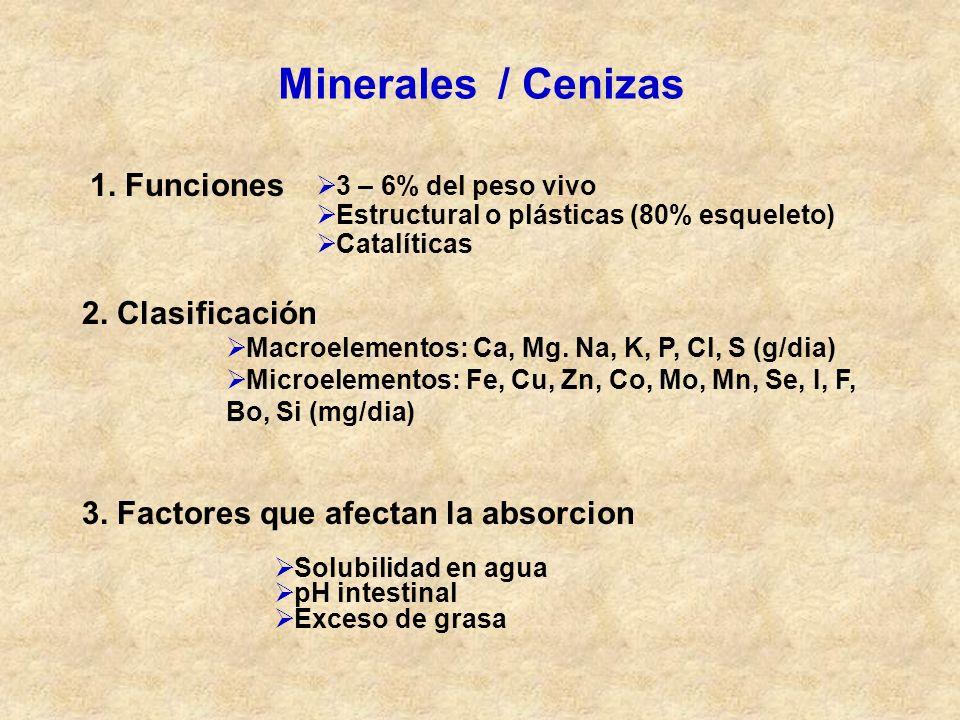 Minerales / Cenizas 1. Funciones 3 – 6% del peso vivo Estructural o plásticas (80% esqueleto) Catalíticas 2. Clasificación Macroelementos: Ca, Mg. Na,