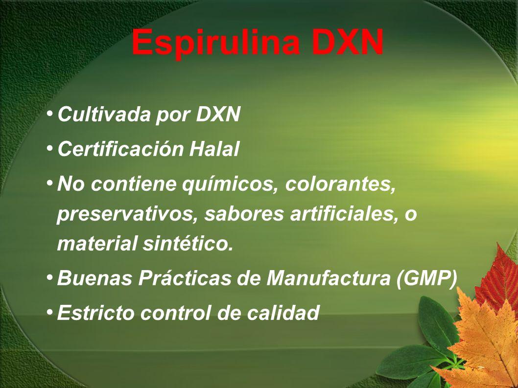 Cultivada por DXN Certificación Halal No contiene químicos, colorantes, preservativos, sabores artificiales, o material sintético. Buenas Prácticas de