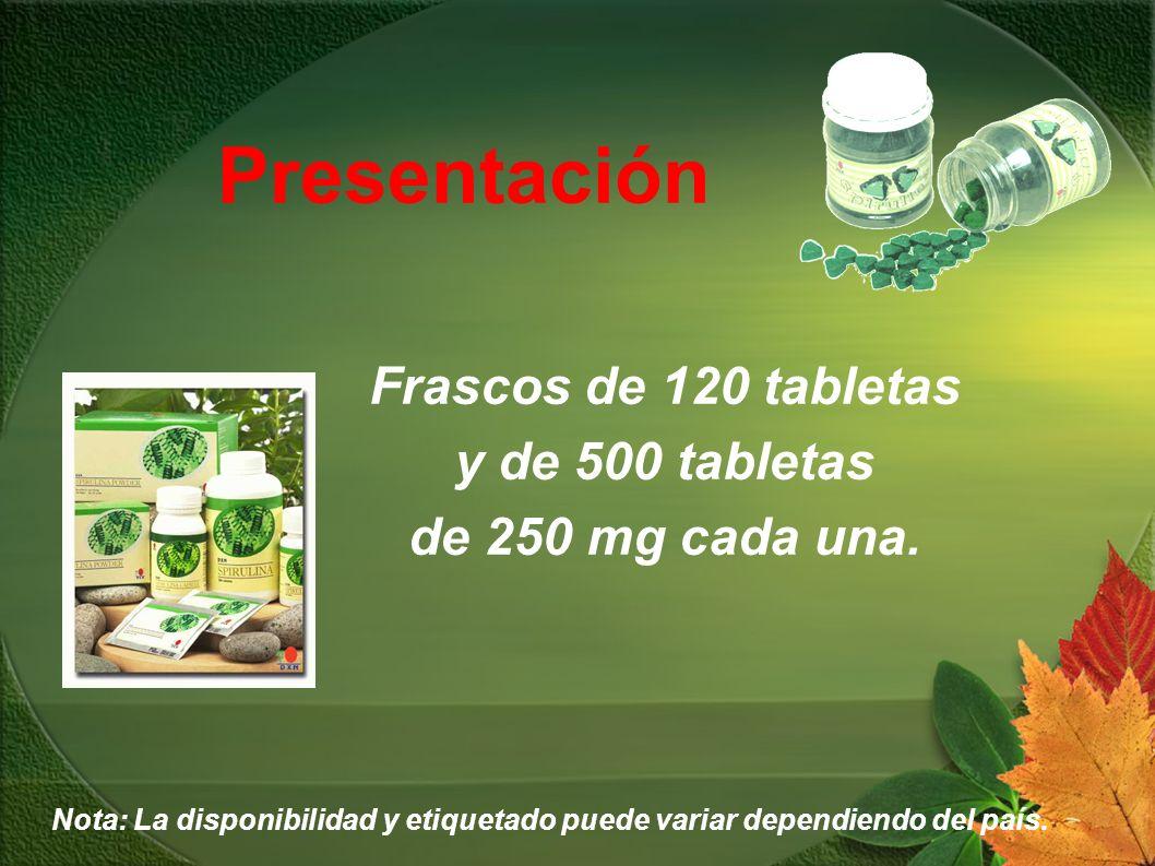 Presentación Frascos de 120 tabletas y de 500 tabletas de 250 mg cada una. Nota: La disponibilidad y etiquetado puede variar dependiendo del país.