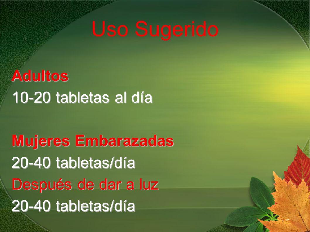 Uso Sugerido Adultos 10-20 tabletas al día Mujeres Embarazadas 20-40 tabletas/día Después de dar a luz 20-40 tabletas/día