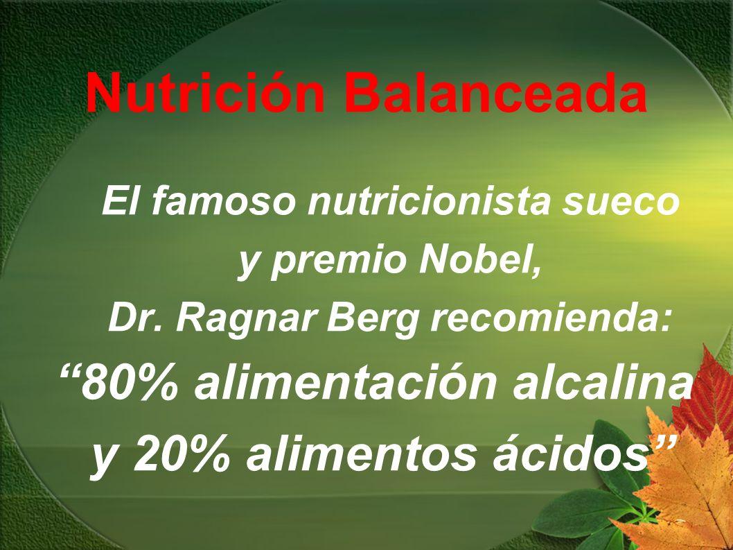 Nutrición Balanceada El famoso nutricionista sueco y premio Nobel, Dr. Ragnar Berg recomienda: 80% alimentación alcalina y 20% alimentos ácidos
