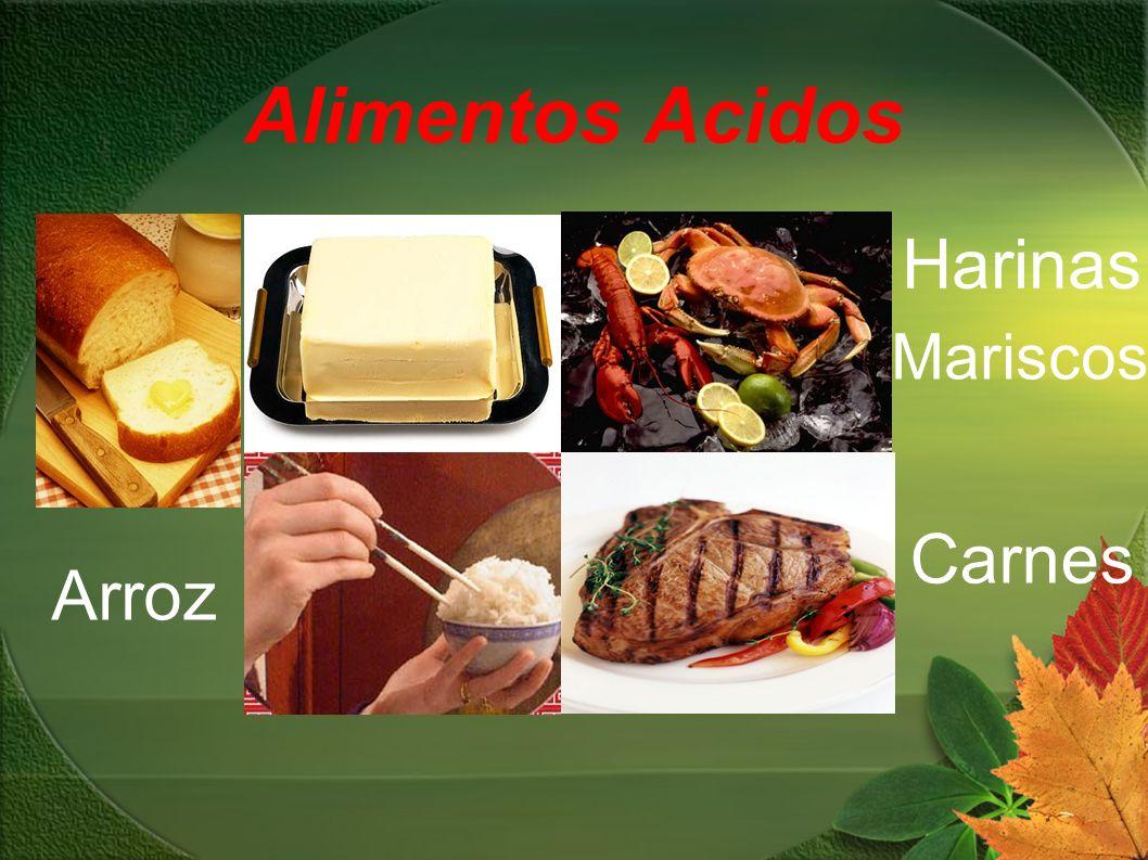 Alimentos Acidos Mariscos Carnes Harinas Arroz