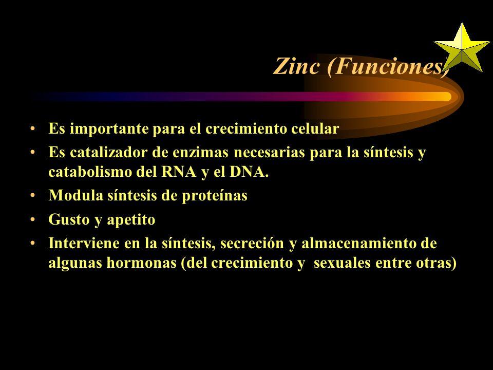 El Zinc se ha relacionado con las funciones motoras, cognitivas y psico-sociales en niños y adolescentes La estructura y función del cerebro se ve afe
