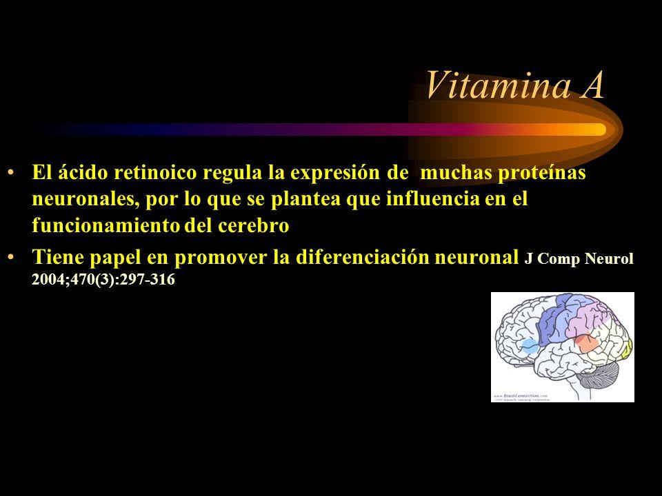 Liposoluble Se almacena en hígado El Zinc favorece su absorción Tiene papel en memoria y aprendizaje Mantenimiento de visión, pelo uñas, huesos y dien